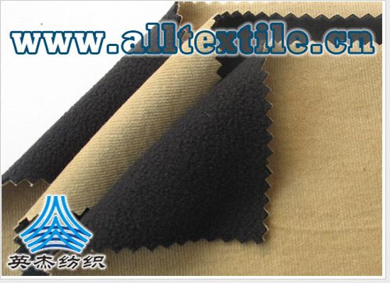 透湿透气全棉灯芯条+TPU+弹力摇粒绒复合面料